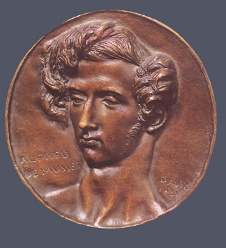 5. Pierre-Jean David D'Angers,  Alfred de Musset , 1831. Cast bronze. Diam.: 172 mm. Private Collection, U.S.A.