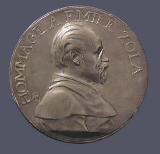 10. Alexandre Charpentier,  Hommage à Émile Zola . Cast pewter. Diam.: 195 mm. Private Collection, U.S.A.