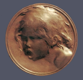 14. Alexandre Charpentier, Le Cri, c. 1900. Cast gilt bronze. Diam.: 60 mm. Private Collection, U.S.A.