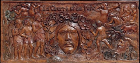 Fig. 3 – Paul Gauguin,  La guerre et la paix: La guerre  ( War and Peace: War ), 1901, painted tamanu wood, 17 ½ x 39 3/16 in. (44.45 x 99.53 cm), Museum of Fine Arts, Boston