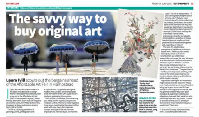 Article about Affordable Art Fair Battersea 2016. Featuring Maria Rivans