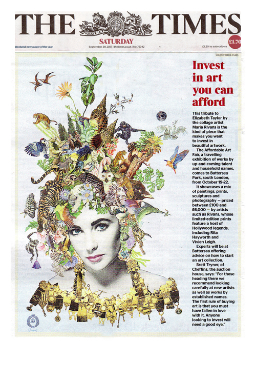 'Invest in Affordable Art' article in the Times illustrated by the limited edition print 'Violet' (hand finished in gold leaf)  by our artist Maria Rivans