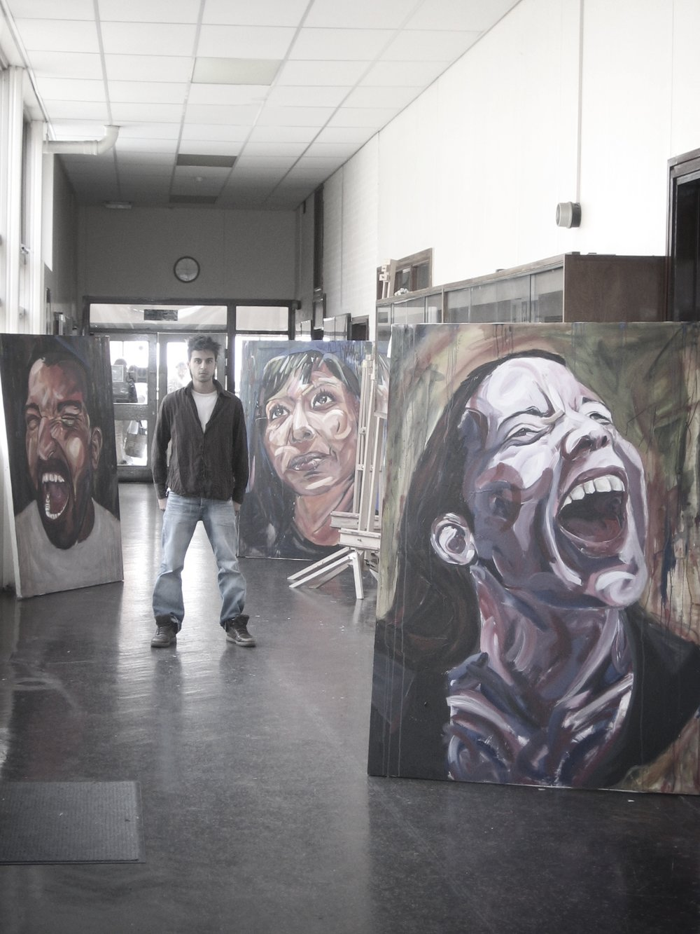 Vishal in Gateway College with his final piece for his Foundation Diploma in Art and Design, 2006 (age 19)