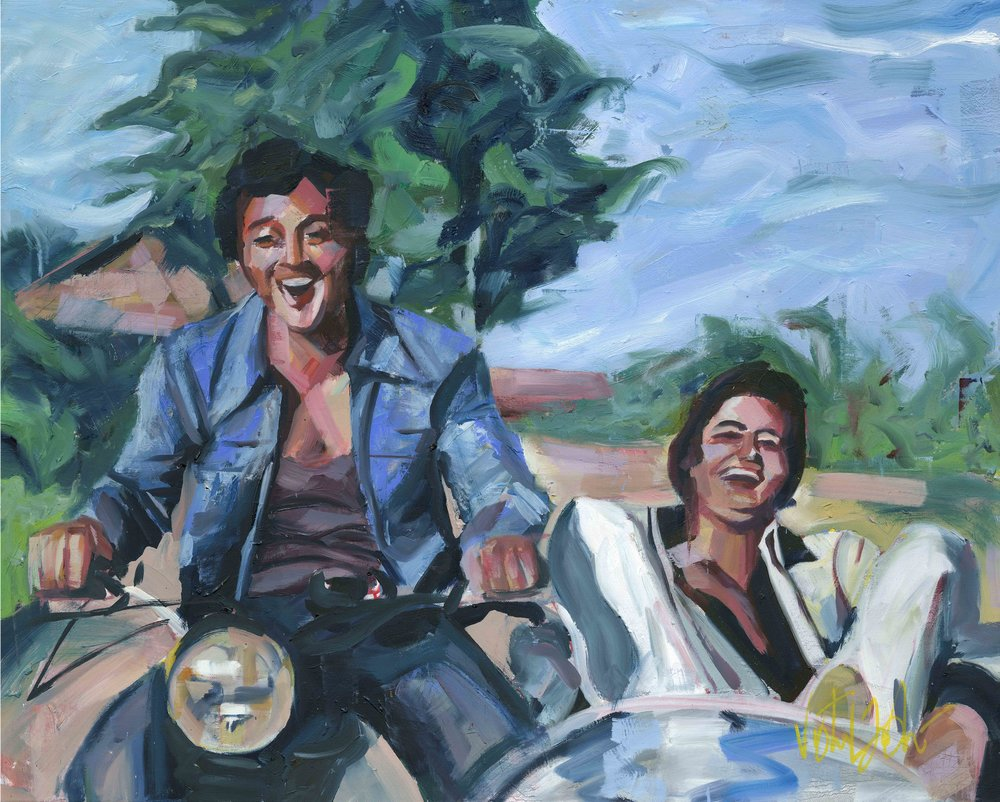 Yeh Dosti  - A painting 'still' from a song about the unique bond of friendship; from the epic movie Sholay.