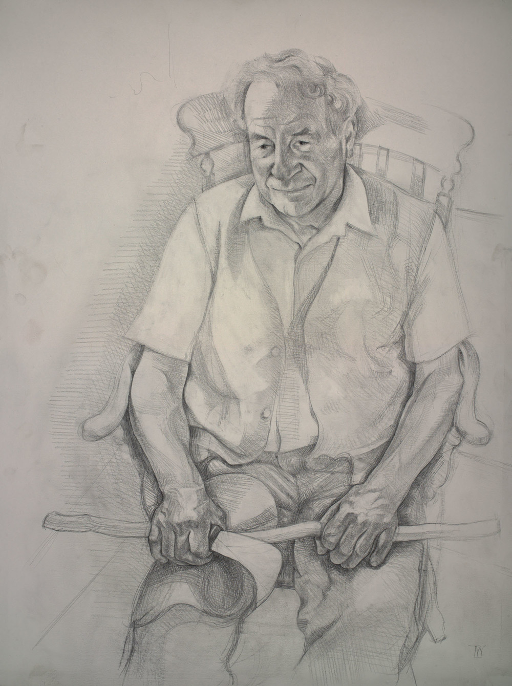 "'Alan Brown - Hurdle maker and local historian, Wool, Dorset.' 74x57cm (29""x22"") pencil on paper. Private collection."