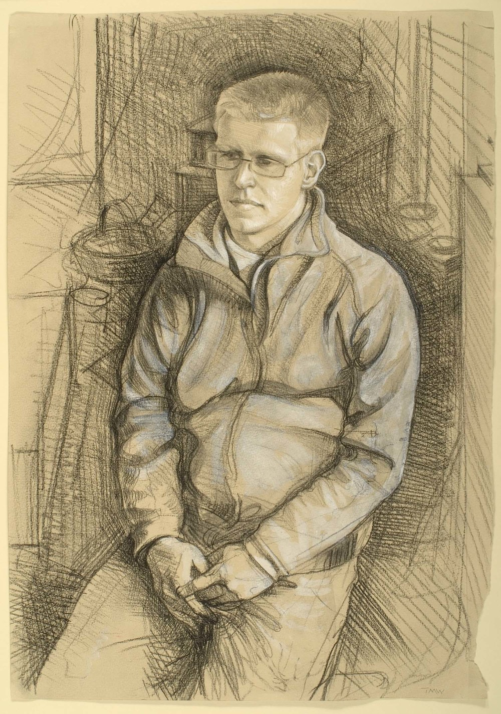 "'Jamie Hall - farmer's son, Isle of Purbeck, Dorset' 50x35cm(19 ¾""x13 ¾"") pencil on paper."