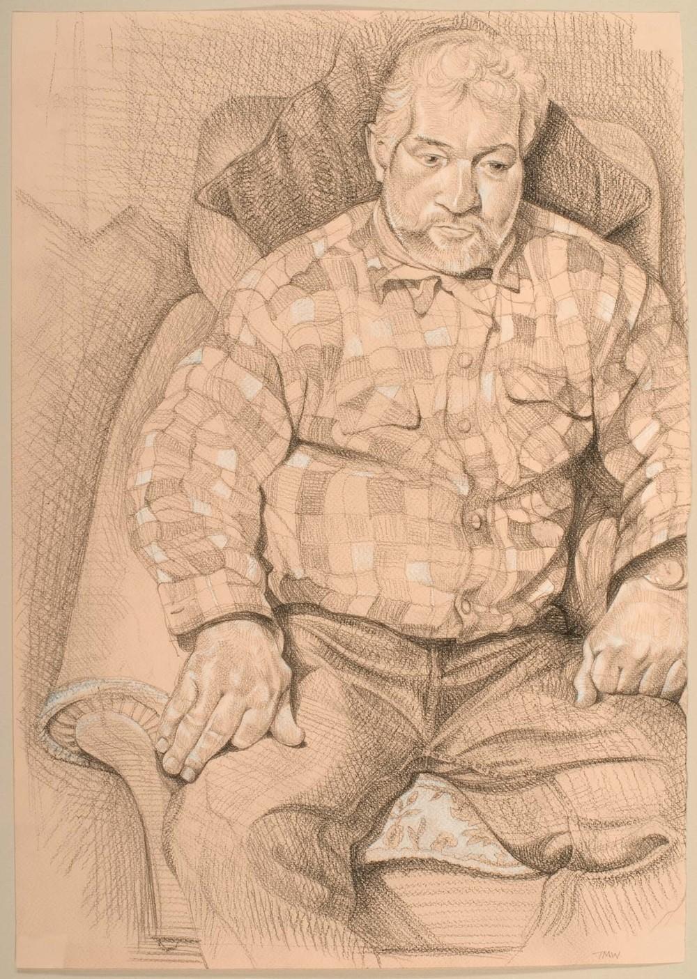 "'Tony Cottrell - thatcher, east Dorset' 50x35cm (19""x13"") pencil on paper."
