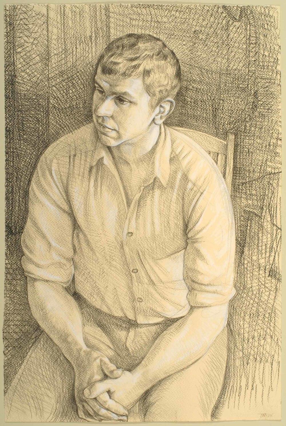 "'Simon Murray, dairy farmer,Isle of Purbeck, Dorset.' 45x30cm(17""x11"") pencil on paper."
