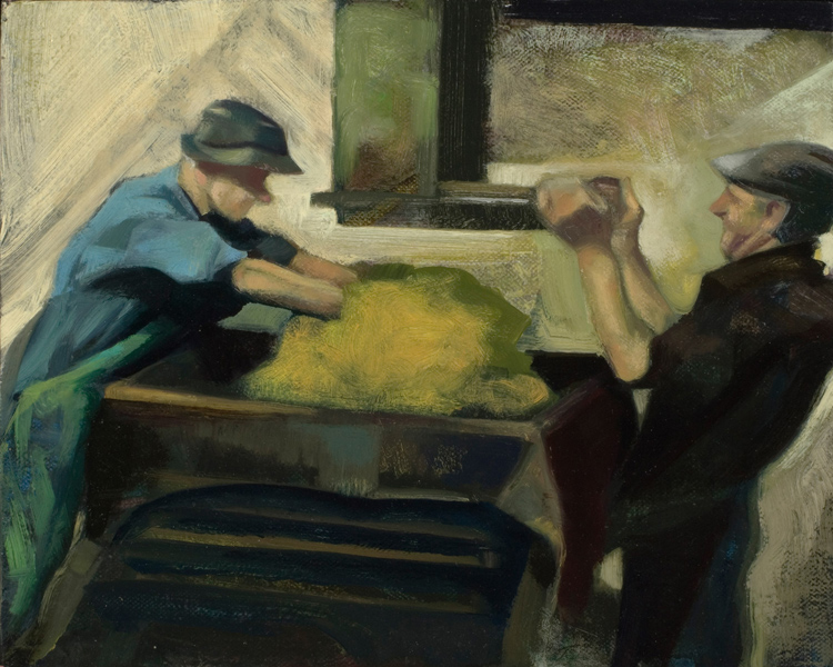 "'Cider Makers, Wedmore, Somerset' oil on canvas 24x30cm(9""x12""). Somerset County Museum."