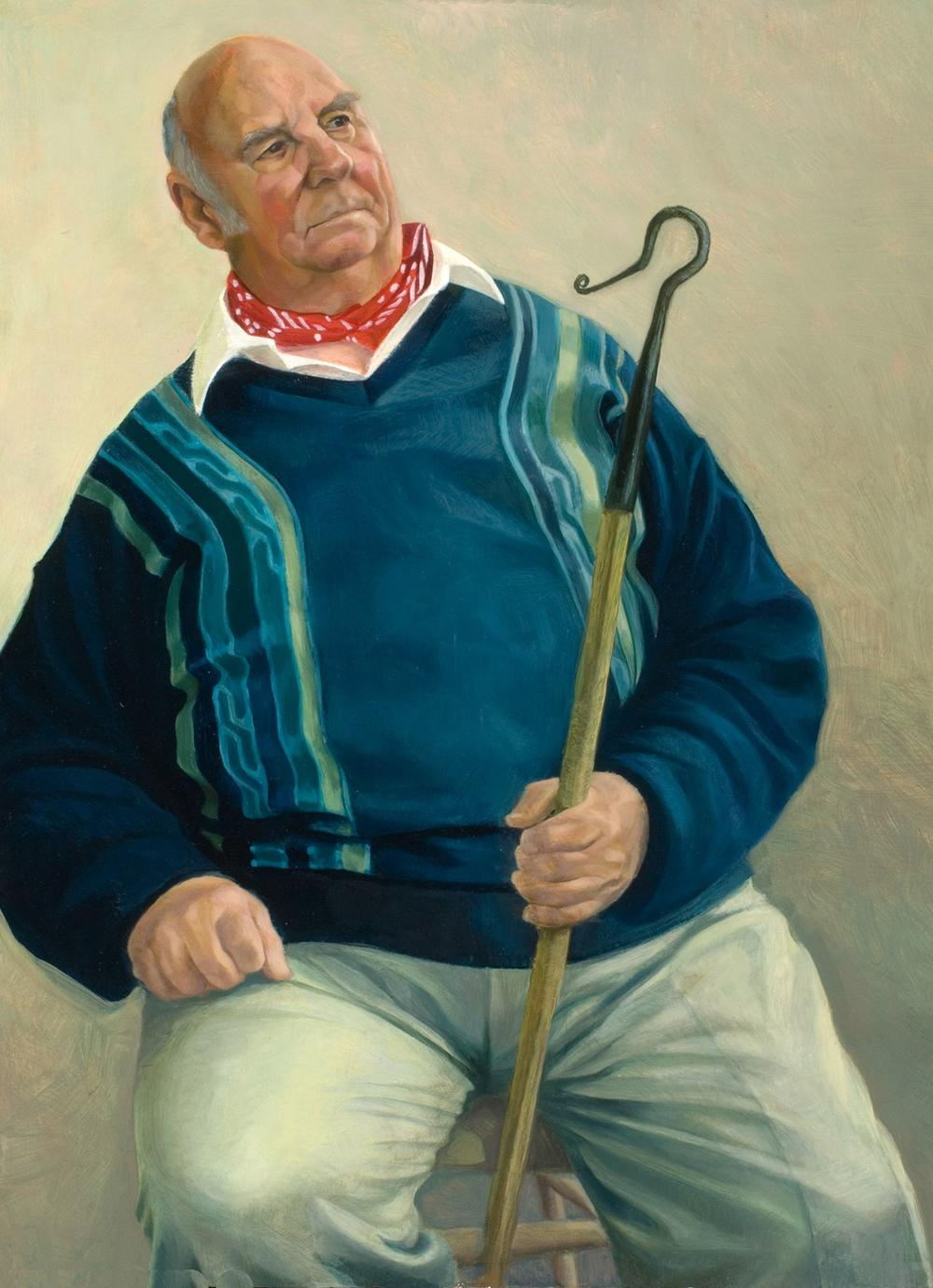 "'Larry Skeats, Retired Shepherd, Dorset' oil on gesso panel 56x40cm(22""x16""). Girton College, Cambridge."