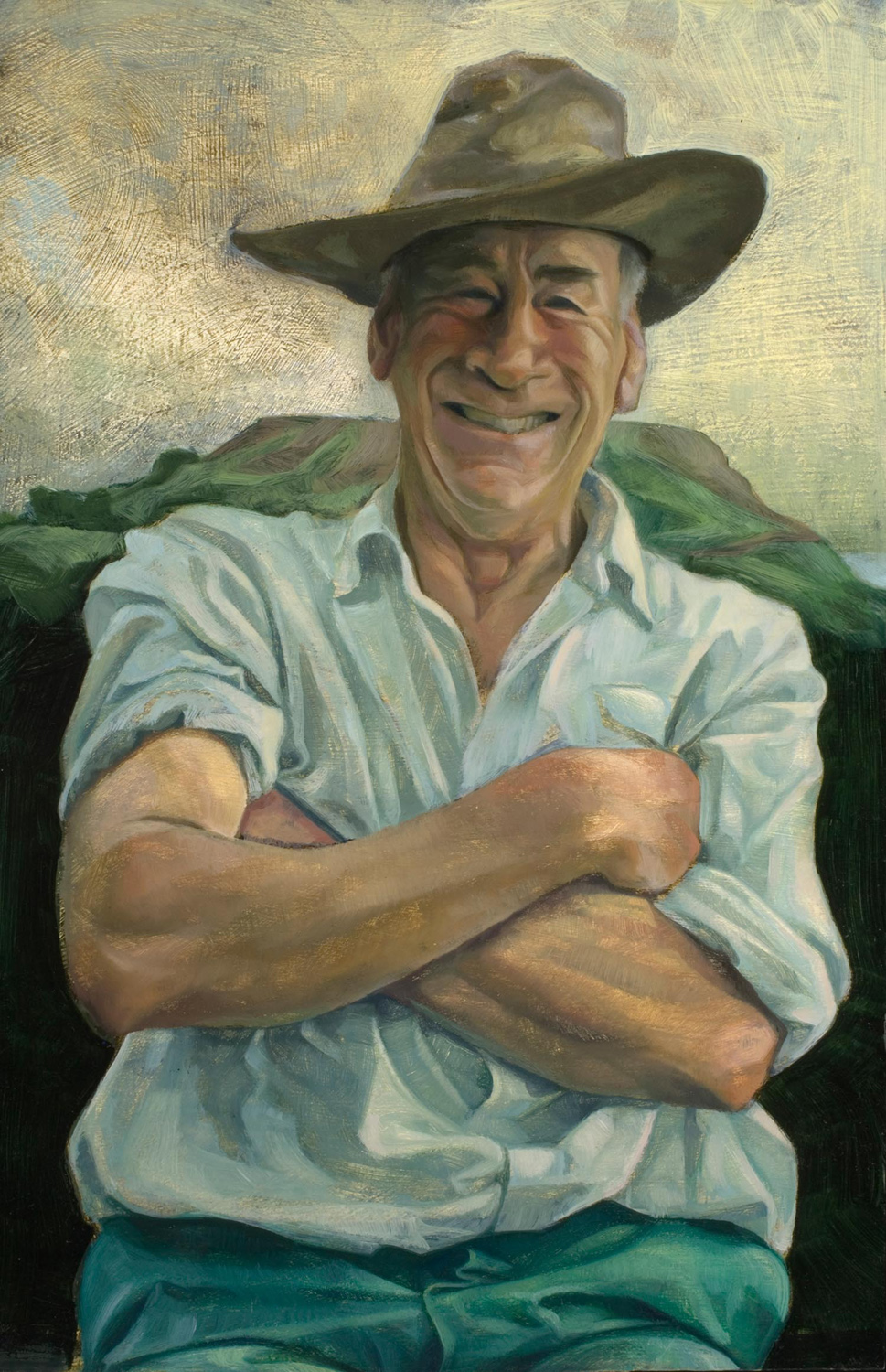 "'Robin Smith, farmer, west Dorset' oil on gesso panel 40x30cm (16""x12""). Private collection."