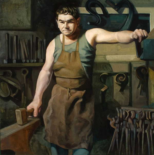 "'Simon Grant Jones, Blacksmith, Dorset' oil on gesso panel 56x56cm(22""x22""). Dorset County Museum."