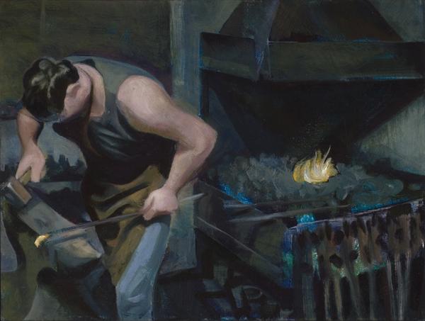 "'Simon Grant Jones at the Anvil' oil on canvas 30x40cm (12""x16"")."