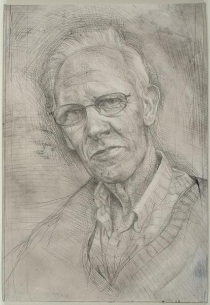 "'David Ursell - Organic farmer, Winkleigh, Devon'29x20cm(11½""x 8"") pencil on gesso panel."