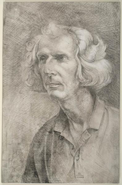 "'Jim Bettle - Charcoal burner, Hazelbury Bryan, Dorset' 30x20cm(12""x8"") pencil on gesso panel."