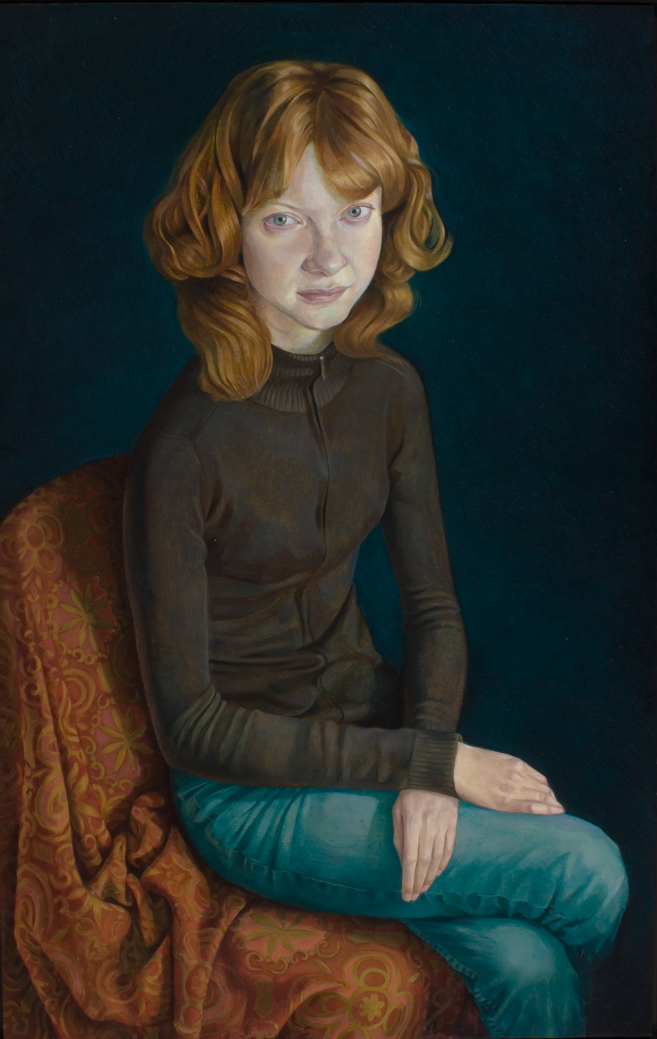 "'Catherine' 91x58cm (36""x23"") oil on gesso panel."