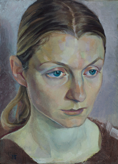 "'Emily' oil on copper plate 25x11cm (10""x5""). Private collection."