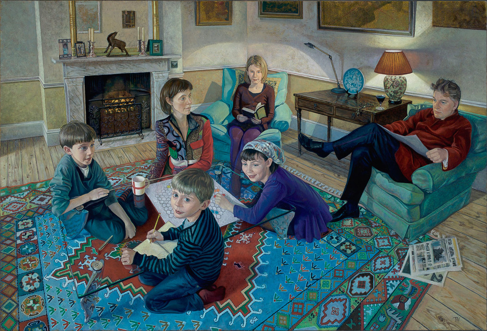 "'The Hayes Family' oil on linen 99x153cm (39""x60"").Private collection."