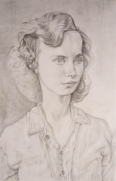 "'The Russian Girl' 34x23cm (13""x9"") pencil on gesso panel. Private collection."