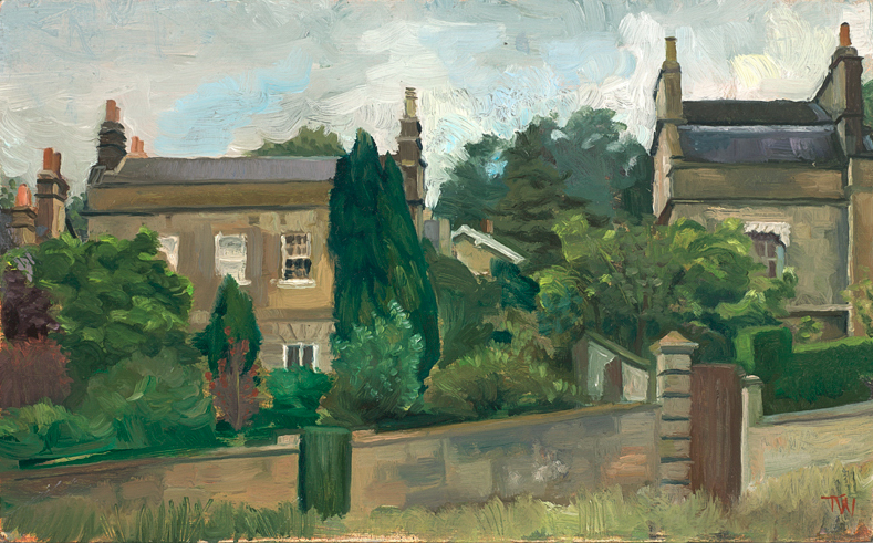 "'Blustery day on Bathwick Hill,Bath' oil on gesso panel 15x24cm(6""x9""). Private collection."