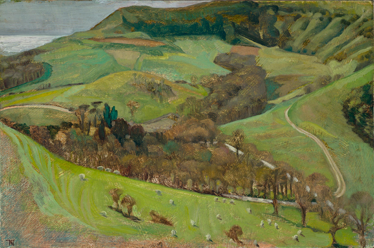 "'Encombe Estate, Dorset; an early spring day' oil gesso panel 20x30cm (8""x12""). Private collection."