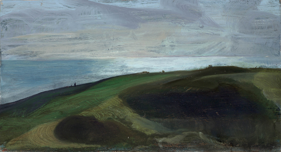 "'Evening, looking seaward near Swyre Head, Isle of Purbeck, Dorset' oil on gesso panel 23x36cm(9""x14""). Private collection."
