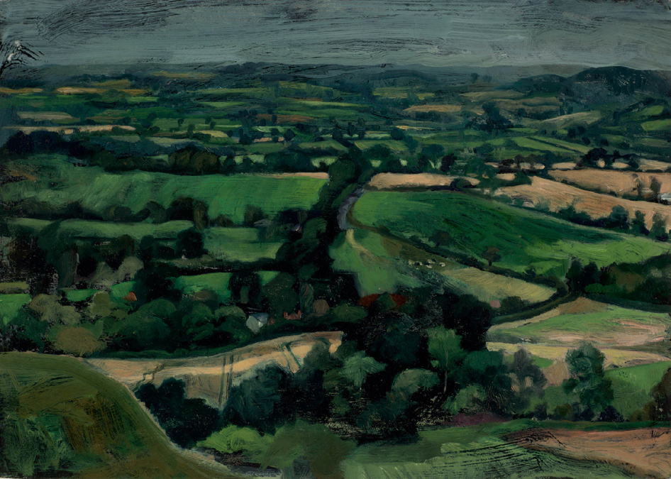 'Looking West. The Blackmore Vale from Hambledon Hill, Dorset' oil on gesso panel 31x40cm(12x16). Private collection.