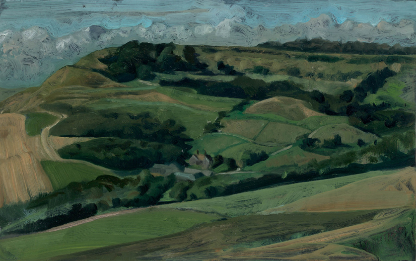 "'The Golden Bowl of Encombe with Home Farm and Swyre Head, Dorset' oil on gesso panel 28x40cm(11""x16""). Private collection."