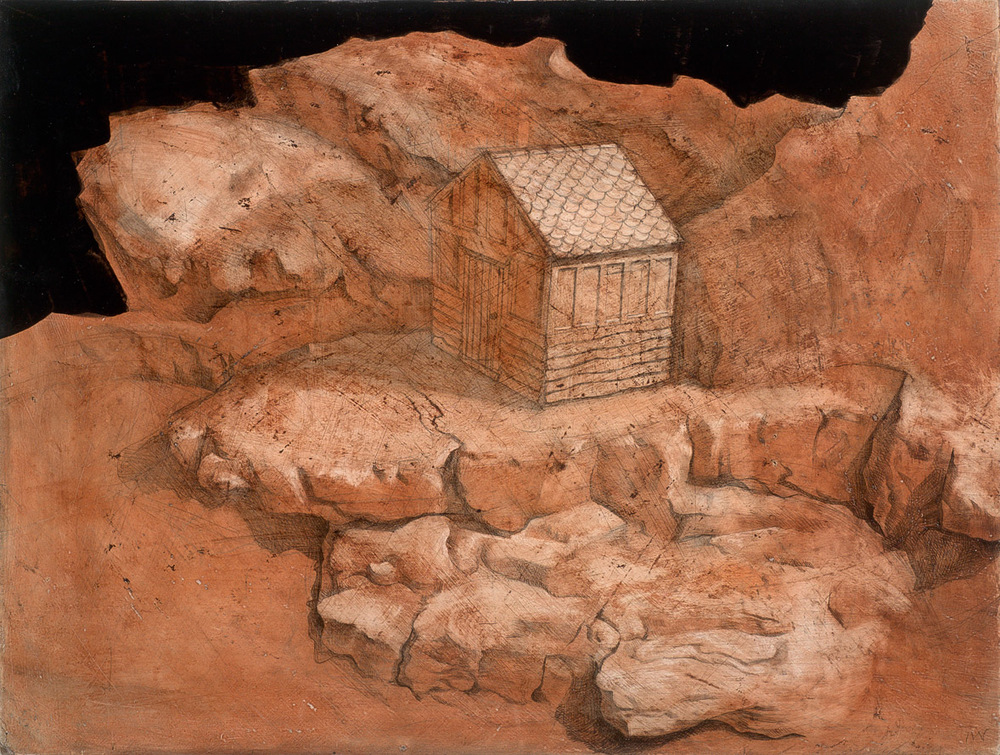 "'The Hermitage'. English red earth pigment on gesso panel. 23x36cm(9""x14""). Private collection."