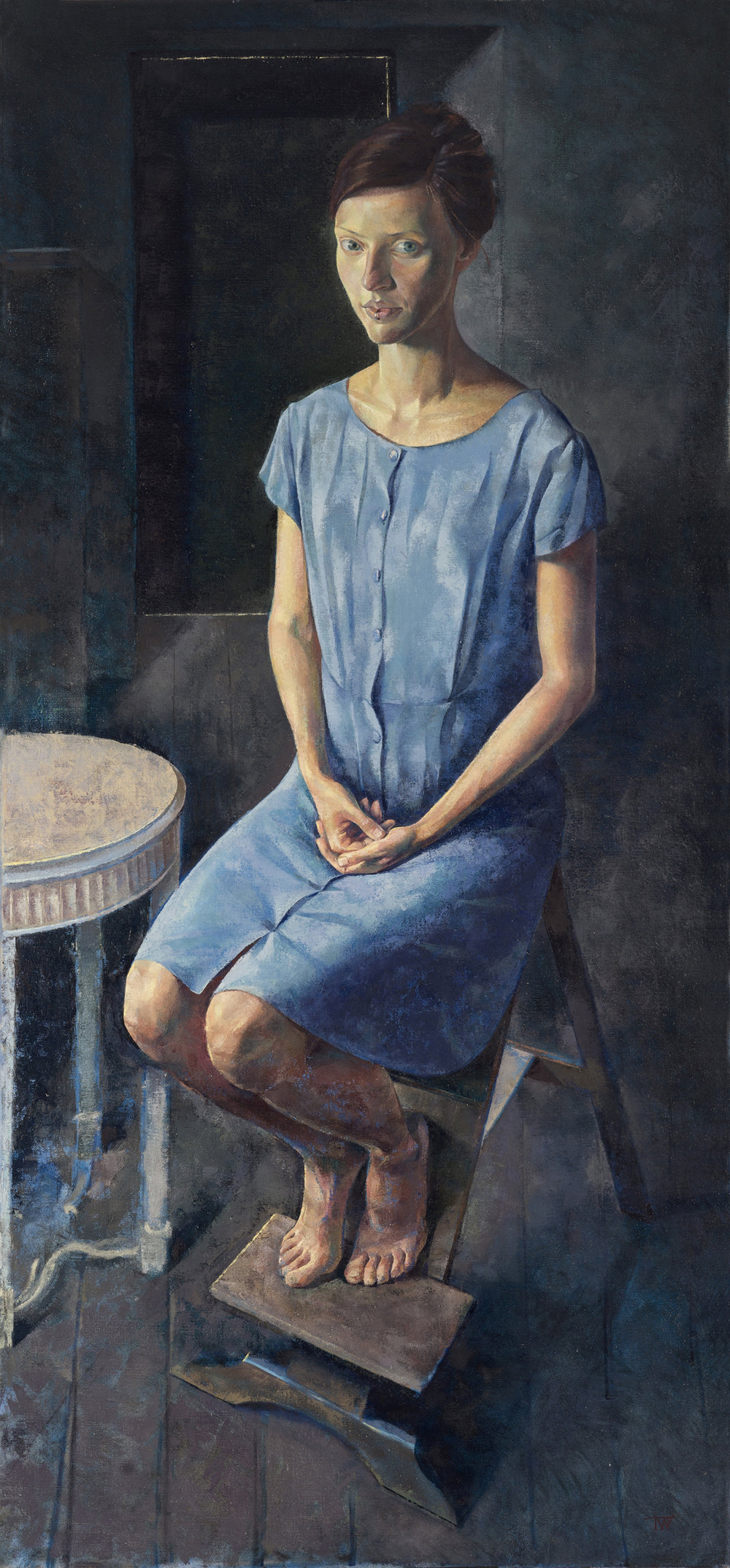 'Girl with a Ring' oil on linen 153x72cm