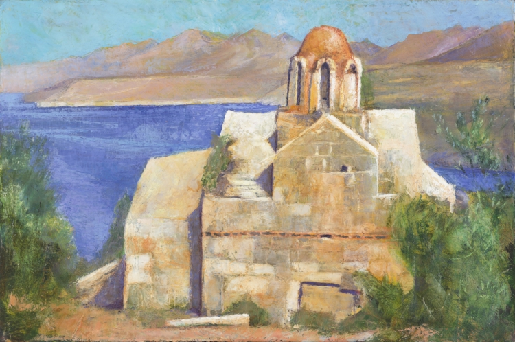 'The Poet's Church, Vlacherna, Mezapos' oil on canvas 30 x 75 cm
