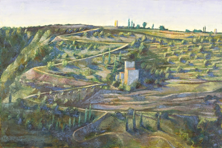 'The Zig Zag Road: On the way to Charia' oil on canvas 40x75cm