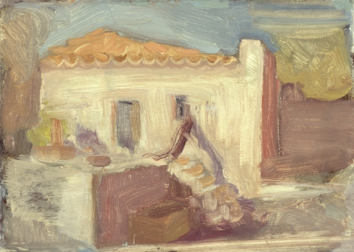 'Bereft of Life: Farmhouse near Diros Bay' oil on board 15.5 x 21.5 cm