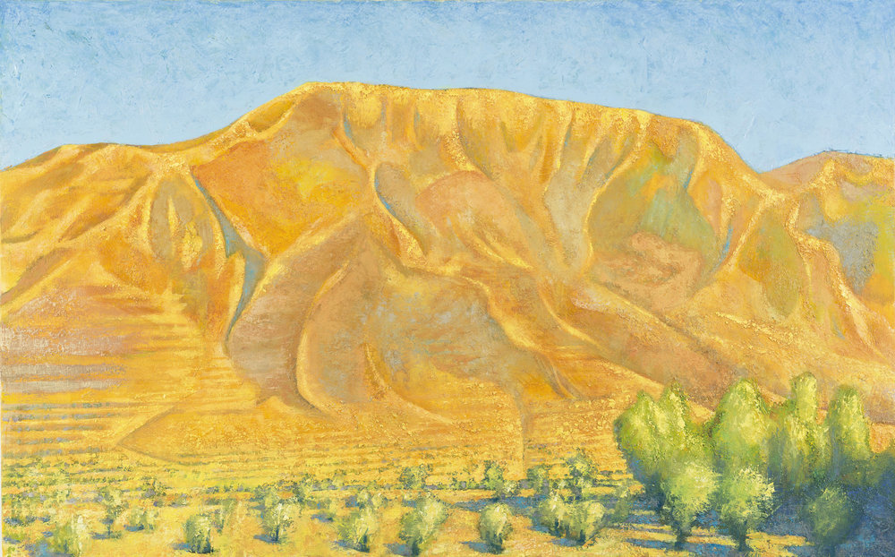 'Burning rock: Mt. Elijah above Ano Boularii, mid afternoon' oil on canvas 76 x 122 cm
