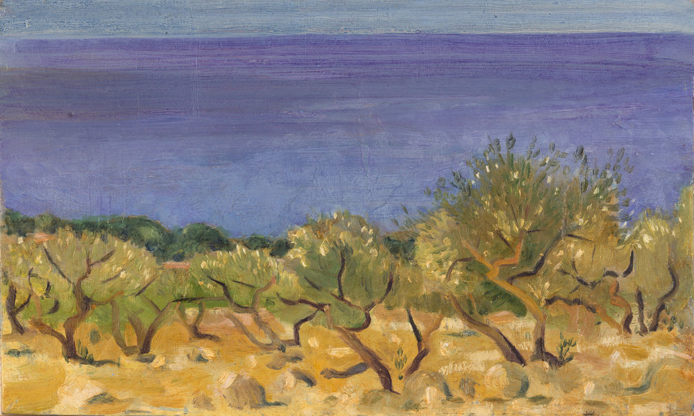 'Sea girdled, sun blistered: olive grove by the Gulf of Messenia' oil on board 15.2 x 25.5 cm