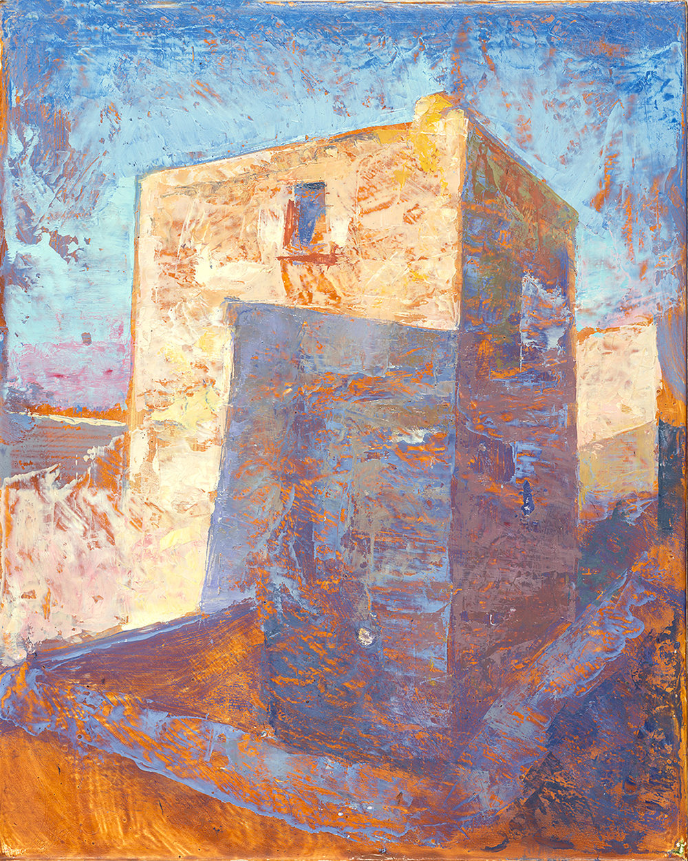 'Pyrgos 1: Tower house' oil on gesso panel 25.5 x 22.2 cm
