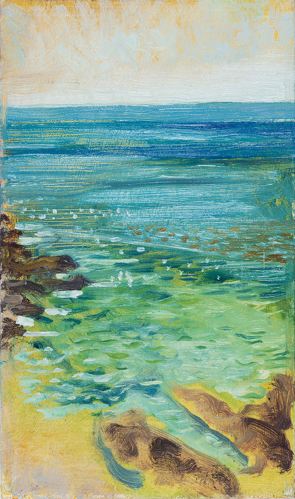 'Sweat and Salt Water in the Gulf of Kolokythia' oil on board 15.5 x 25.5 cm