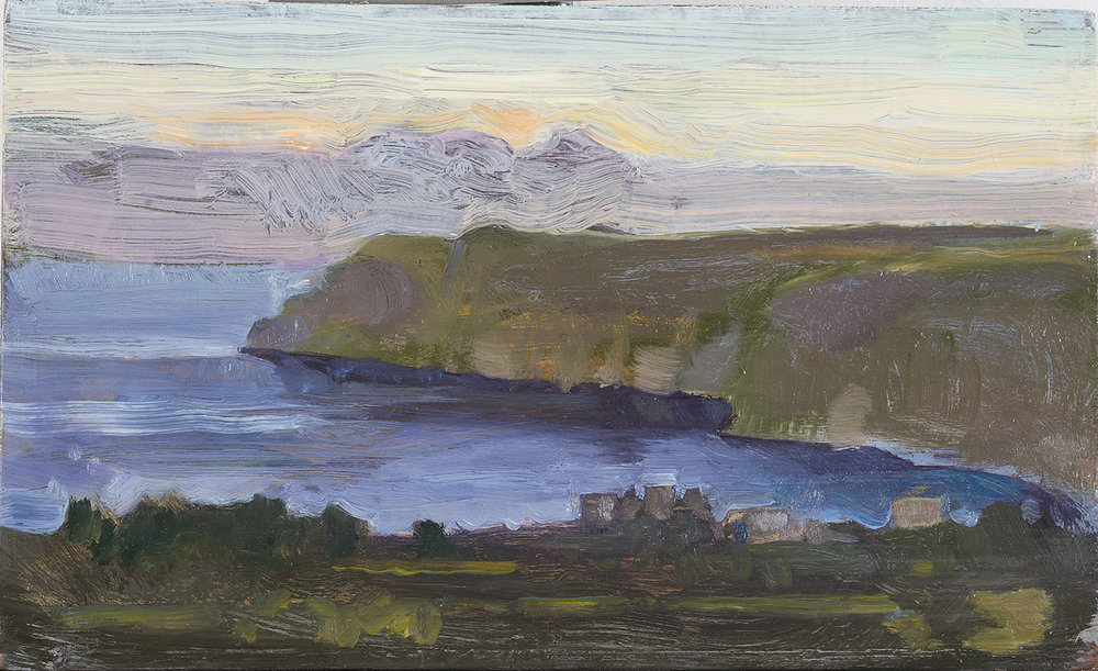 'Bulls, bats and jackals : Gerolimenas bay(Giali) from Ano Boularii, Dusk' oil on board 15.5  x 25.5 cm