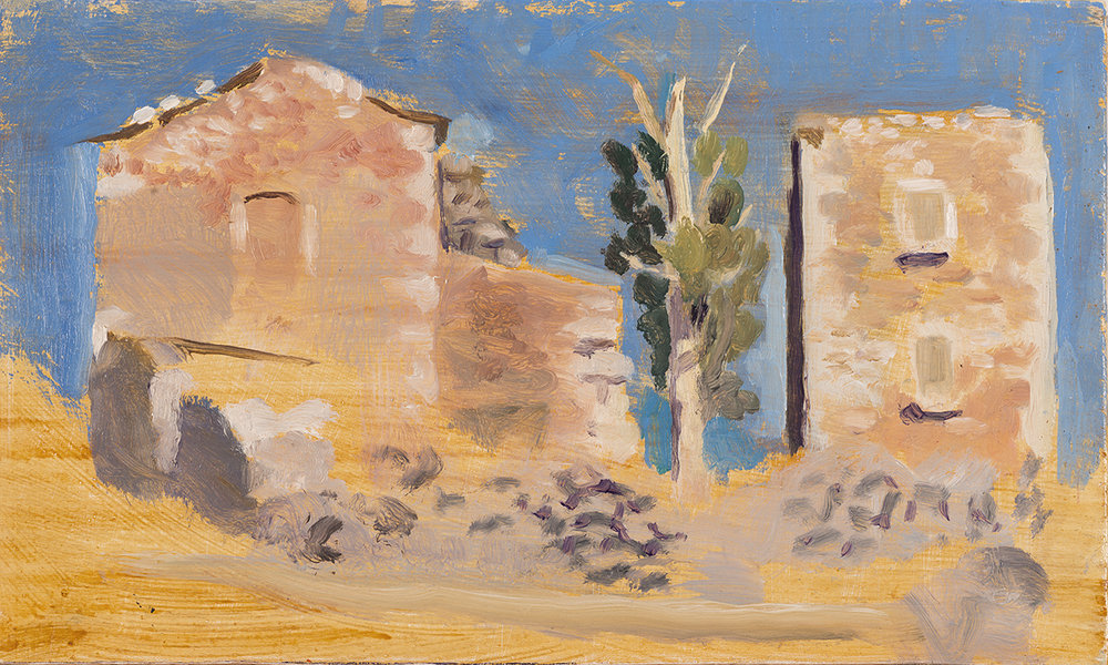 'Derelict farm at Lagio' oil on board 15.5 x 25.5cm