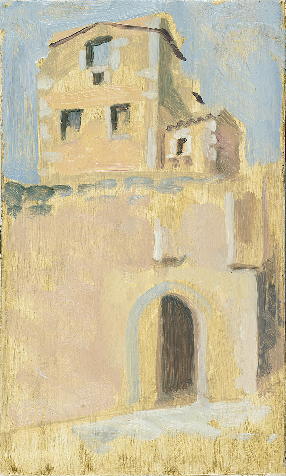 'Pyrgos 4: Maniot Tower house: Areopolis' oil on board 25.5 x 15.5cm