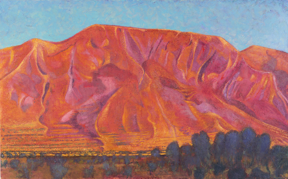 'Moment of majesty: Mount Elijah above Ano Boularii, sundown' oil on canvas 76 x 122 cm