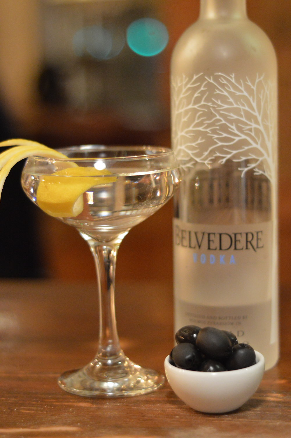 Featured Cocktail: Dry Belvedere Martini.  They say the best way to ascertain the quality of a bar is to order a vodka martini. The glassware used to serve this simple cocktail will tell you much about the bar's image; while the quality of spirit used in this most pure of cocktails will tell you of its substance.