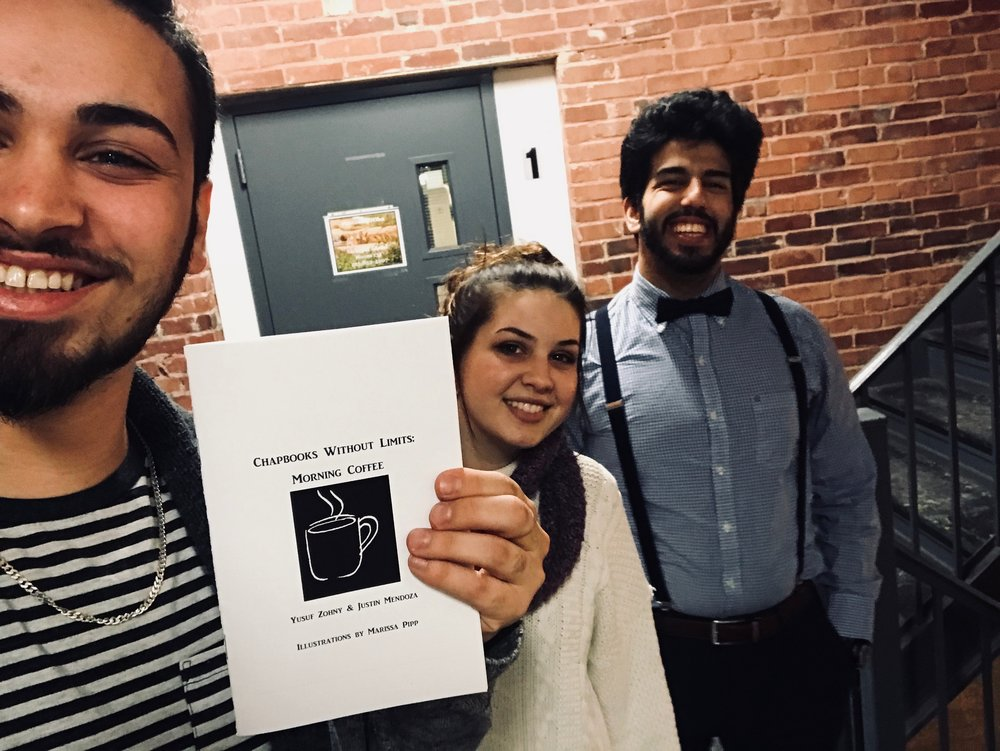 From left-right: Yusuf, Marissa, and Justin celebrating their chapbook.