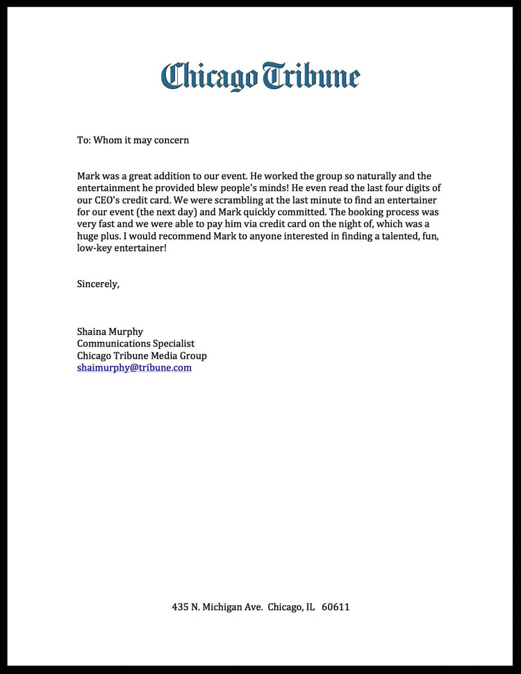 Chicago Tribune Testimonial