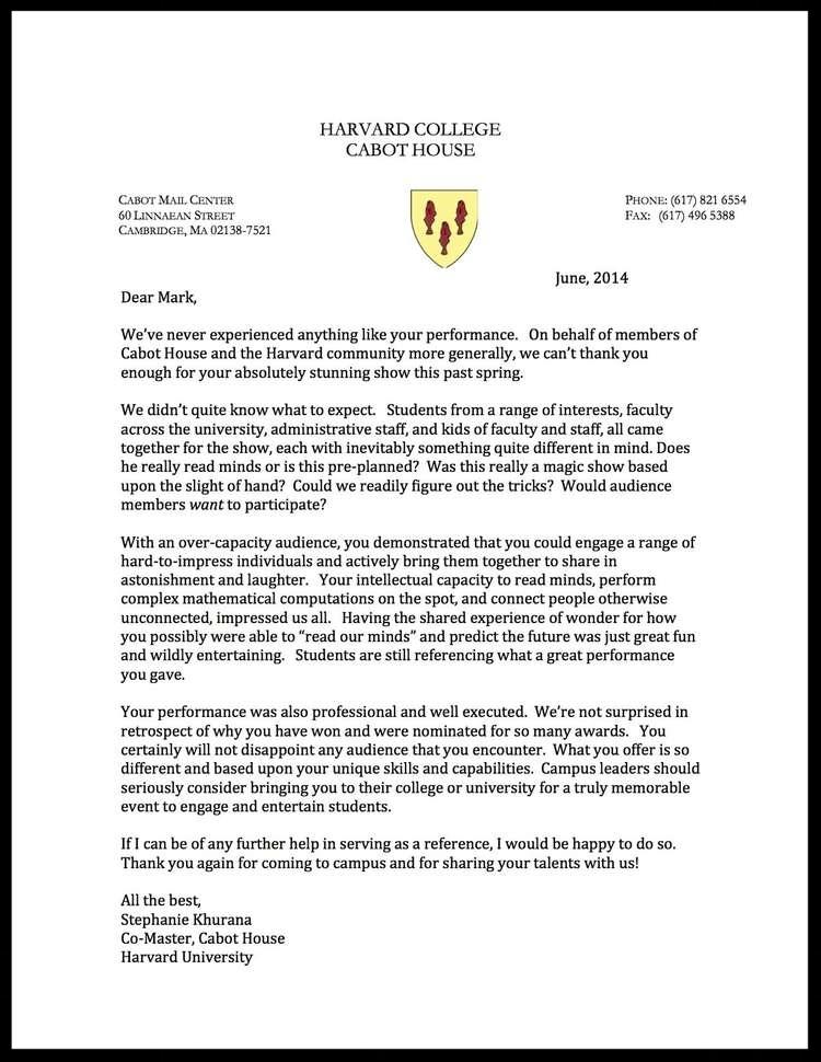 Harvard Testimonial