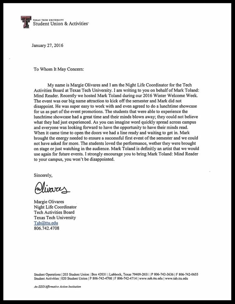 Texas Tech Testimonial