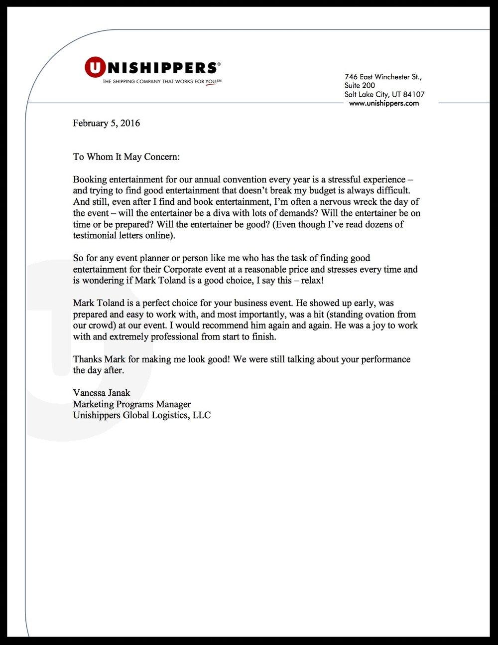 Unishippers Rec Letter.jpg