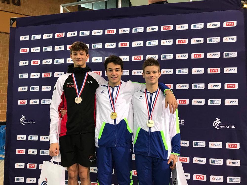 Podium tremplin 3m garçons juniors A: médaille d'Argent, Pierrick Schafer. ©Claudine Schafer