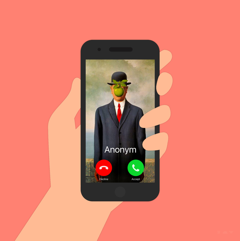 Do you know this man? - An anonym call from a bowler-hatted man with a floating apple in front of his face. Obviously, the choice of an iPhone refers to the apple. A close-up on the hand holding it is intended to involve mentally the viewer as if he was actually holding the phone. And the wallpaper represents a painting called The Son of a Man, originally intended to be a self-portrait of Magritte.