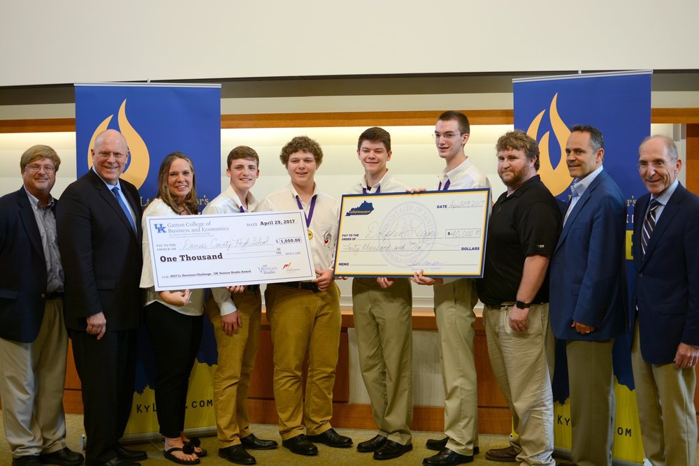 The first-place team, Dolphin Logger, was from Daviess County and won $40,000 in scholarships. Their company proposed a business idea involving Radio Frequency Identification (RFID) technology and school transportation.